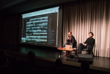 Jan Gerber & Sebastian Lütgert during their lecture Autonomous Pirate Machinery