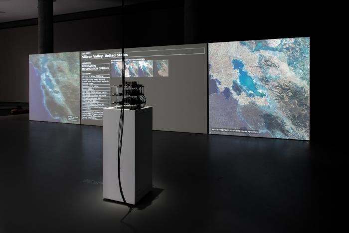 Installation View of Asunder by Tega Brain, Bengt Sjölén, and Julian Oliver. Photo by Luca Girardini, CC NC-SA 4.0