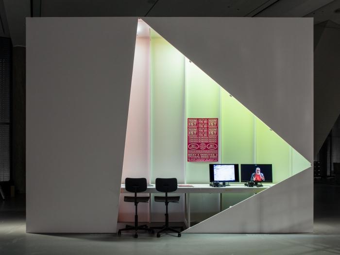 Ausstellungsansicht The Next 5 Minutes von David Garcia und Eric Kluitenberg. Foto Luca Girardini, CC NC-SA 4.0