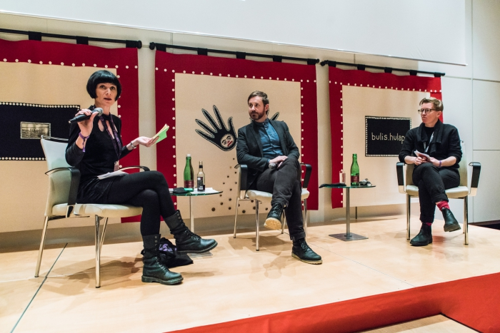 Phoebe V Moore, Joshua Neves, and Mél Hogan at the transmediale Marshall McLuhan Lecture