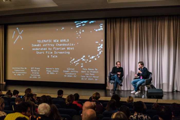 Florian Wüst in conversation with Ismaël Joffroy Chandoutis after the Film & Video Day screening Telematic New World